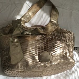 Authentic Jimmy Choo Gold leather woven hobo purse